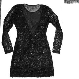 Very sexy Black sequin/mesh low cut mini